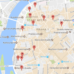 Map of apartment rentals in Prague